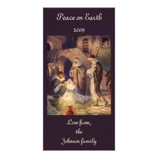 Navidad del vintage, tres pastores y Jesús Plantilla Para Tarjeta De Foto
