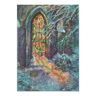 Navidad del vintage, vitral en iglesia invitación 12,7 x 17,8 cm