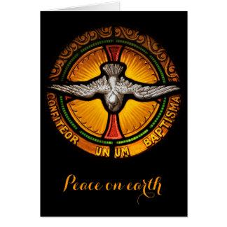 Navidad del vitral de la paloma tarjeta de felicitación
