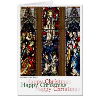 Navidad del vitral tarjeta