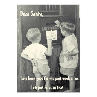 Navidad divertido adorable del vintage que saluda invitación 12,7 x 17,8 cm