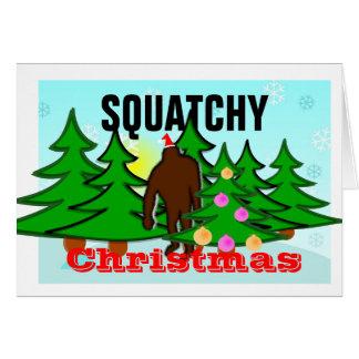 Navidad divertido Bigfoot de Squatchy pegajoso Tarjeta De Felicitación