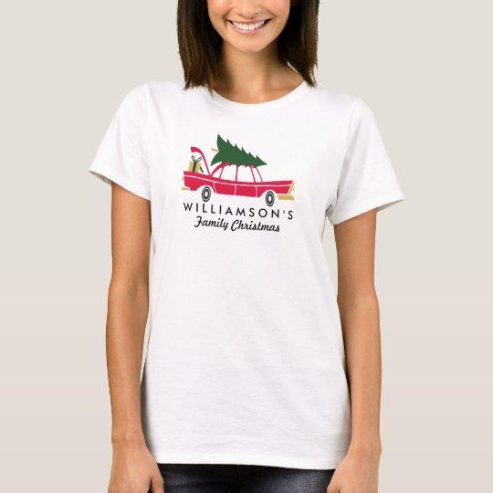 Navidad divertido de la familia que trae a casa el camiseta