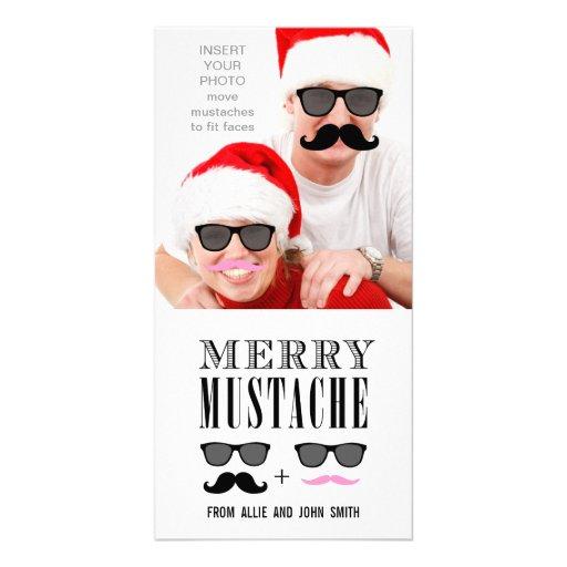 Navidad divertido de las gafas de sol del bigote tarjetas fotográficas personalizadas