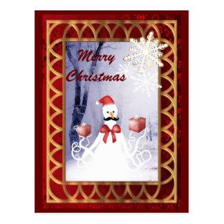 Navidad divertido de Papá Noel del muñeco de nieve Postal