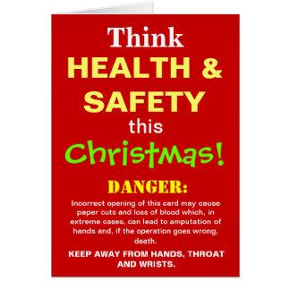 Navidad divertido de salud y de la seguridad que tarjeta de felicitación