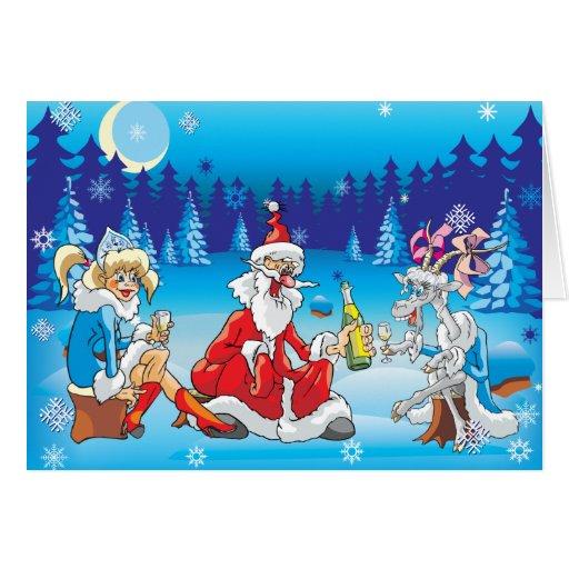 Navidad divertido de Santa y de la cabra Felicitación