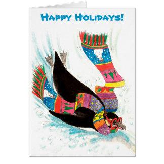 Navidad divertido del pingüino de las vacaciones tarjeta de felicitación