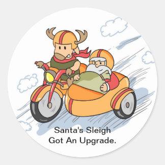 Navidad divertido, el trineo de Santa aumentado Pegatina Redonda