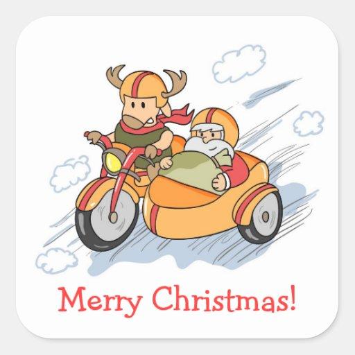 Navidad divertido, el trineo de Santa aumentado Calcomania Cuadradas Personalizadas
