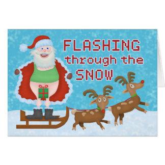 Navidad divertido Papá Noel que destella a través Tarjeta De Felicitación