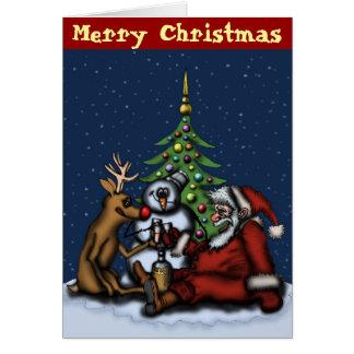 Navidad divertido que bebe la tarjeta del arte del