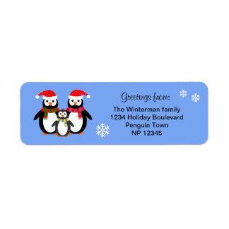 Navidad editable del azul del texto de la familia etiqueta de remite
