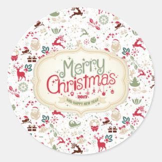 Navidad elegante de Ditsy y pegatina del Año Nuevo