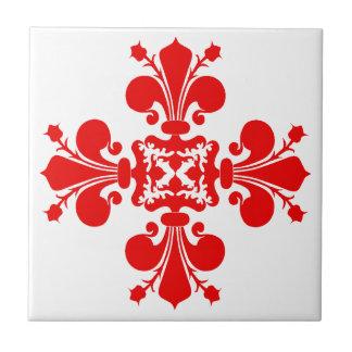 Navidad elegante del damasco de la flor de lis azulejo cuadrado pequeño