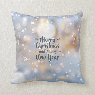 Navidad elegante y almohada de tiro de la Feliz