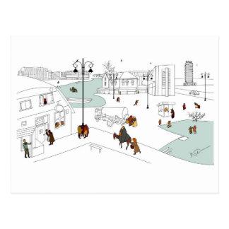 Navidad en ciudad moderna postal