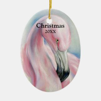 Navidad en colores pastel del arte del flamenco adorno de cerámica