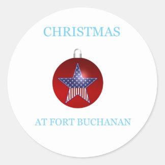 Navidad en el fuerte Buchanan 22 Pegatina Redonda