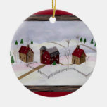 Navidad en la granja - ornamento redondo adornos
