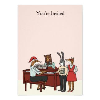 Navidad en la invitación del piano