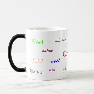 Navidad en todo el mundo blanco y negro taza de café