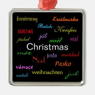 Navidad en todo el mundo en el negro IV Adorno Cuadrado Plateado