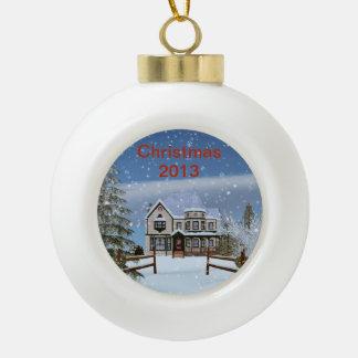 Navidad, escena del invierno Nevado, 2013 desprend Adornos