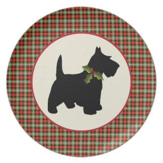 Navidad escocés de la tela escocesa del perro del platos para fiestas