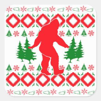Navidad fea Bigfoot Pegatina Cuadrada