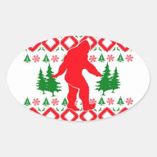 Navidad fea Bigfoot Pegatina Ovalada