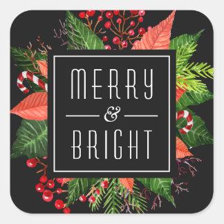 Navidad felices Felices y brillantes del día de Pegatina Cuadrada