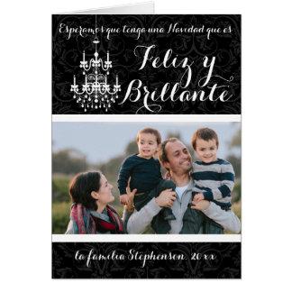 Navidad Felices y brillantes de Black Chandelier Tarjeta De Felicitación