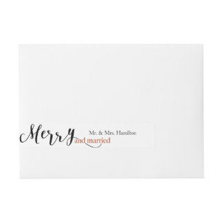"""Navidad """"Felices y casados"""" de la tipografía roja Etiquetas Postales"""