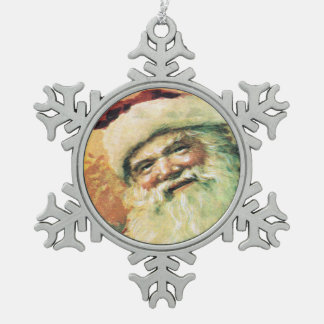 Navidad feliz del vintage de Santa Adorno De Peltre En Forma De Copo De Nieve