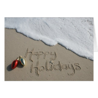 Navidad feliz Jánuca de la tarjeta de la playa del