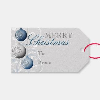 Navidad festivo azul y de plata etiquetas para regalos