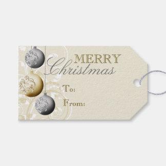 Navidad festivo de la plata y del oro etiquetas para regalos