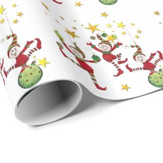 Navidad festivo de los duendes papel de regalo