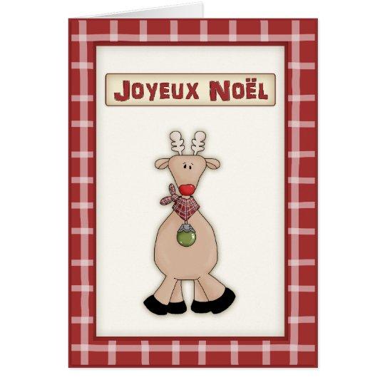 Navidad francés Rudolf la tarjeta roja del reno de