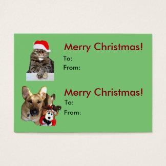 Navidad gato y etiqueta del regalo del