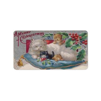 Navidad gato y gatos del navidad del Victorian de Etiqueta De Dirección