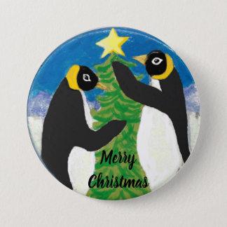 Navidad grande, botón redondo del pingüino de 3