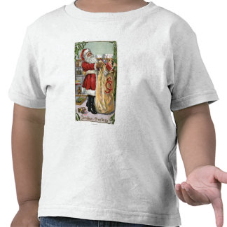 Navidad GreetingSanta con el saco grande Camisetas