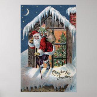Navidad GreetingSanta que sube hacia fuera la vent Impresiones