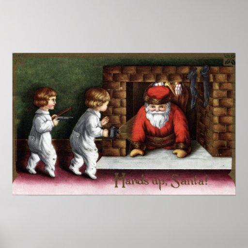 Navidad GreetingSanta que viene hacia fuera chimen Posters
