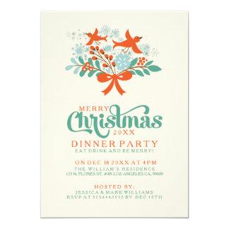 Navidad guirnalda e invitación de la cena de los