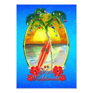 Navidad hawaiano de la playa de Mele Kalikimakai Invitación 12,7 X 17,8 Cm