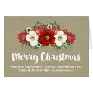 Navidad hermana y cuñado de la arpillera tarjeta de felicitación