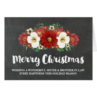 Navidad hermana y cuñado de la pizarra tarjeta de felicitación